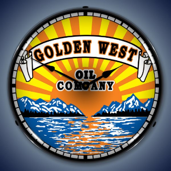 GOLDEN WEST GAS  BACKLIT LIGHTED CLOCK