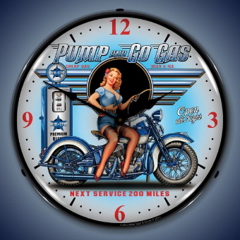 PUMP N GO GAS  BACKLIT LIGHTED CLOCK