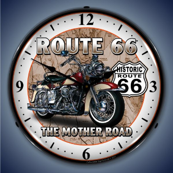 ROUTE 66 BIKE  BACKLIT LIGHTED CLOCK