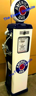 AMERICAN  GAS PUMP - FULL SIZE REPRODUCTION OF OLD 1950s CLASSIC ANTIQUE COLLECTIBLE GAS STATION MEMORABILIA
