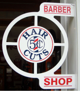 BARBER SHOP HAIR CUTS ROUND FLANGE SIGN - WHITE