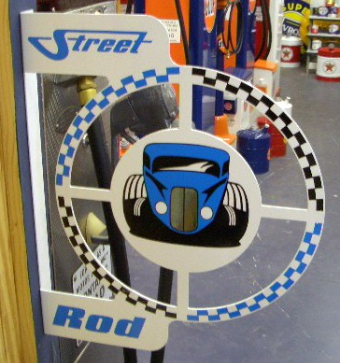 STREET ROD ROUND FLANGE SIGN - WHITE W/BLUE AND BLACK