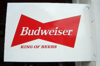BUDWEISER KING OF BEERS RECTANGLE FLANGE SIGN  - WHITE