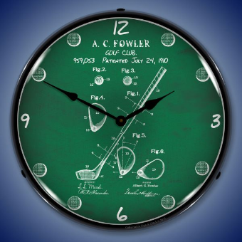 1910 GOLF CLUB PATENT  BACKLIT LIGHTED CLOCK