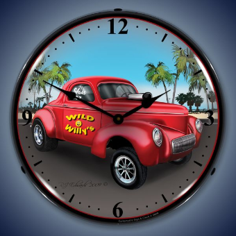 WILLYS GASSER  BACKLIT LIGHTED CLOCK