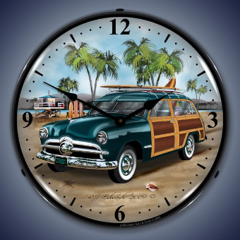 WOODY SURFER WAGON  BACKLIT LIGHTED CLOCK