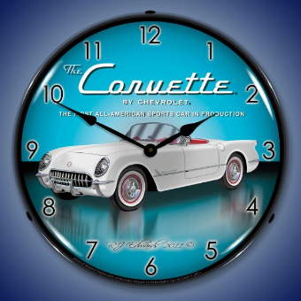 1953  CORVETTE  BACKLIT LIGHTED CLOCK