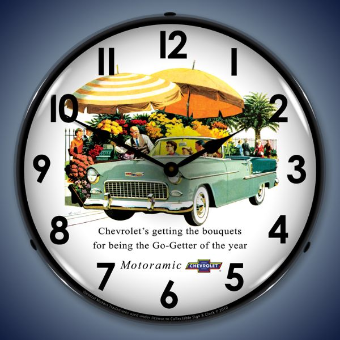 1955 BEL AIR CONVERTIBLE  BACKLIT LIGHTED CLOCK