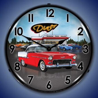 1955 BEL AIR DINER  BACKLIT LIGHTED CLOCK