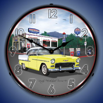 1955 BEL AIR  MITCH'S GARAGE  BACKLIT LIGHTED CLOCK