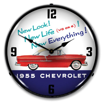 1955 CHEVROLET NEW LOOK  BACKLIT LIGHTED CLOCK