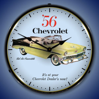1956 CHEVROLET BEL AIR  CONVERTIBLE BACKLIT LIGHTED CLOCK