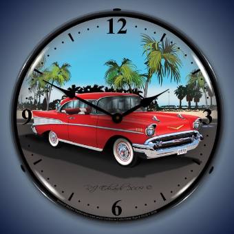1957 CHEVY  BACKLIT LIGHTED CLOCK