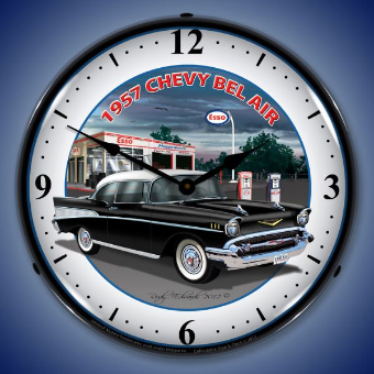 1957 CHEVY ESSO  BACKLIT LIGHTED CLOCK