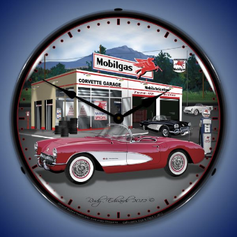 1957 CORVETTE  BACKLIT LIGHTED CLOCK