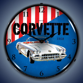 1958 CHEVROLET CORVETTE BACKLIT LIGHTED CLOCK