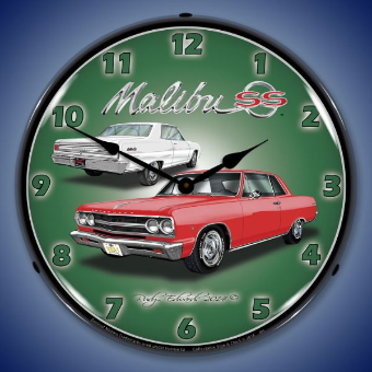 1965 CHEVELLE  MALIBU SS  BACKLIT LIGHTED CLOCK