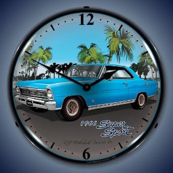 1966 NOVA BLUE CHEVROLET  BACKLIT LIGHTED CLOCK