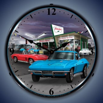 1966 SINCLAIR VETTE  BACKLIT LIGHTED CLOCK