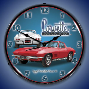 1967 CORVETTE STINGRAY  BACKLIT LIGHTED CLOCK