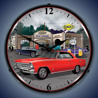 1967 NOVA RED CHEVROLET  BACKLIT LIGHTED CLOCK