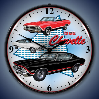 1968 CHEVELLE  BACKLIT LIGHTED CLOCK
