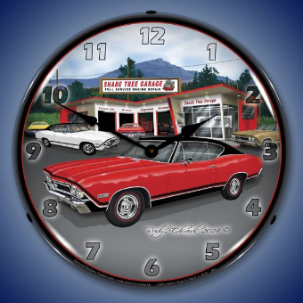 1968 SS CHEVELLE  BACKLIT LIGHTED CLOCK