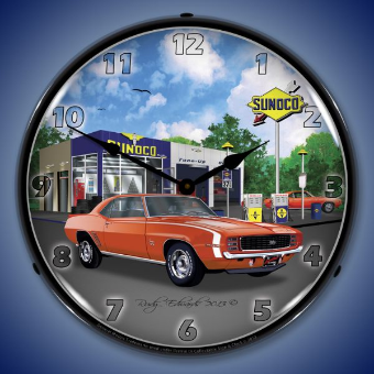 1969 RS SS CAMARO SUNOCO  BACKLIT LIGHTED CLOCK