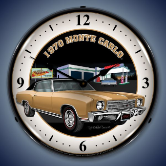 1970 MONTE CARLO  BACKLIT LIGHTED CLOCK