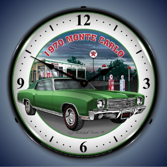 1970 MONTE CARLO GREEN  BACKLIT LIGHTED CLOCK