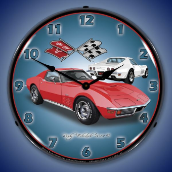 1971 CORVETTE  STINGRAY RED  BACKLIT LIGHTED CLOCK