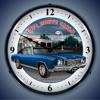 1971 MONTE CARLO  BACKLIT LIGHTED CLOCK