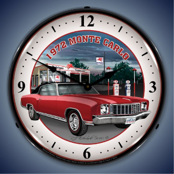 1972 MONTE CARLO  BACKLIT LIGHTED CLOCK