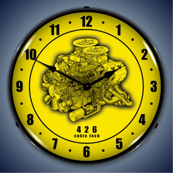 426 ENGINE CUTAWAY  BACKLIT LIGHTED CLOCK