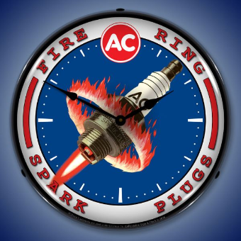AC   SPARK PLUGS  BACKLIT LIGHTED CLOCK