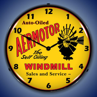 AERMOTOR WINDMILL  BACKLIT LIGHTED CLOCK