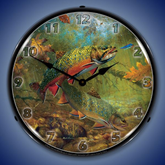 AMERICAN BEAUTIES TROUT  BACKLIT LIGHTED CLOCK