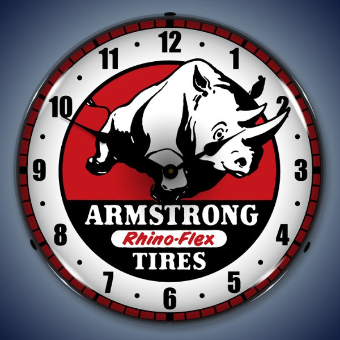 ARMSTRONG TIRE BACKLIT LIGHTED CLOCK