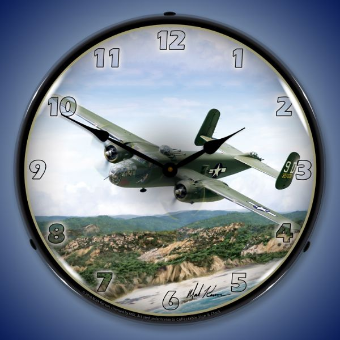 B25  LIBERATOR  BACKLIT LIGHTED CLOCK