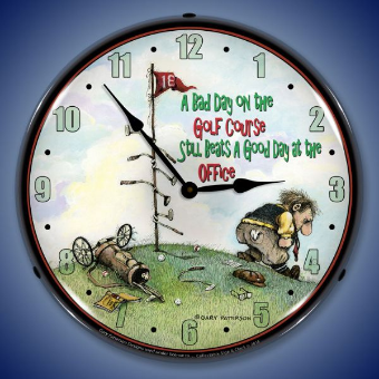 BAD DAY ON THE GOLF COURSE  BACKLIT LIGHTED CLOCK