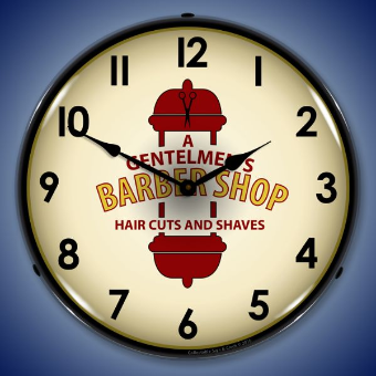 BARBER SHOP  2  BACKLIT LIGHTED CLOCK