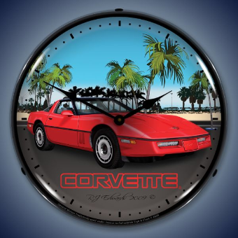 C4 RED CORVETTE  BACKLIT LIGHTED CLOCK