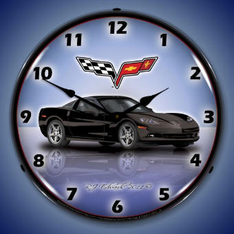 C6 CORVETTE BLACK  BACKLIT LIGHTED CLOCK