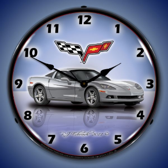 C6 CORVETTE BLADE SILVER  BACKLIT LIGHTED CLOCK
