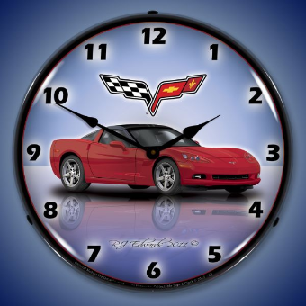 C6 CORVETTE CRYSTAL RED  BACKLIT LIGHTED CLOCK