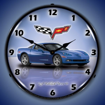C6 CORVETTE JETSTREAM BLUE  BACKLIT LIGHTED CLOCK
