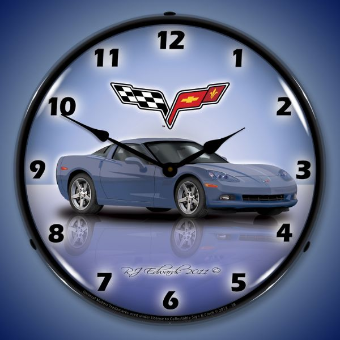 C6 CORVETTE SUPERSONIC BLUE  BACKLIT LIGHTED CLOCK