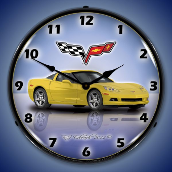C6 CORVETTE VELOCITY YELLOW  BACKLIT LIGHTED CLOCK
