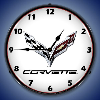 C7 CORVETTE  BACKLIT LIGHTED CLOCK