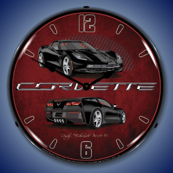 C7 CORVETTE  BLACK BACKLIT LIGHTED CLOCK